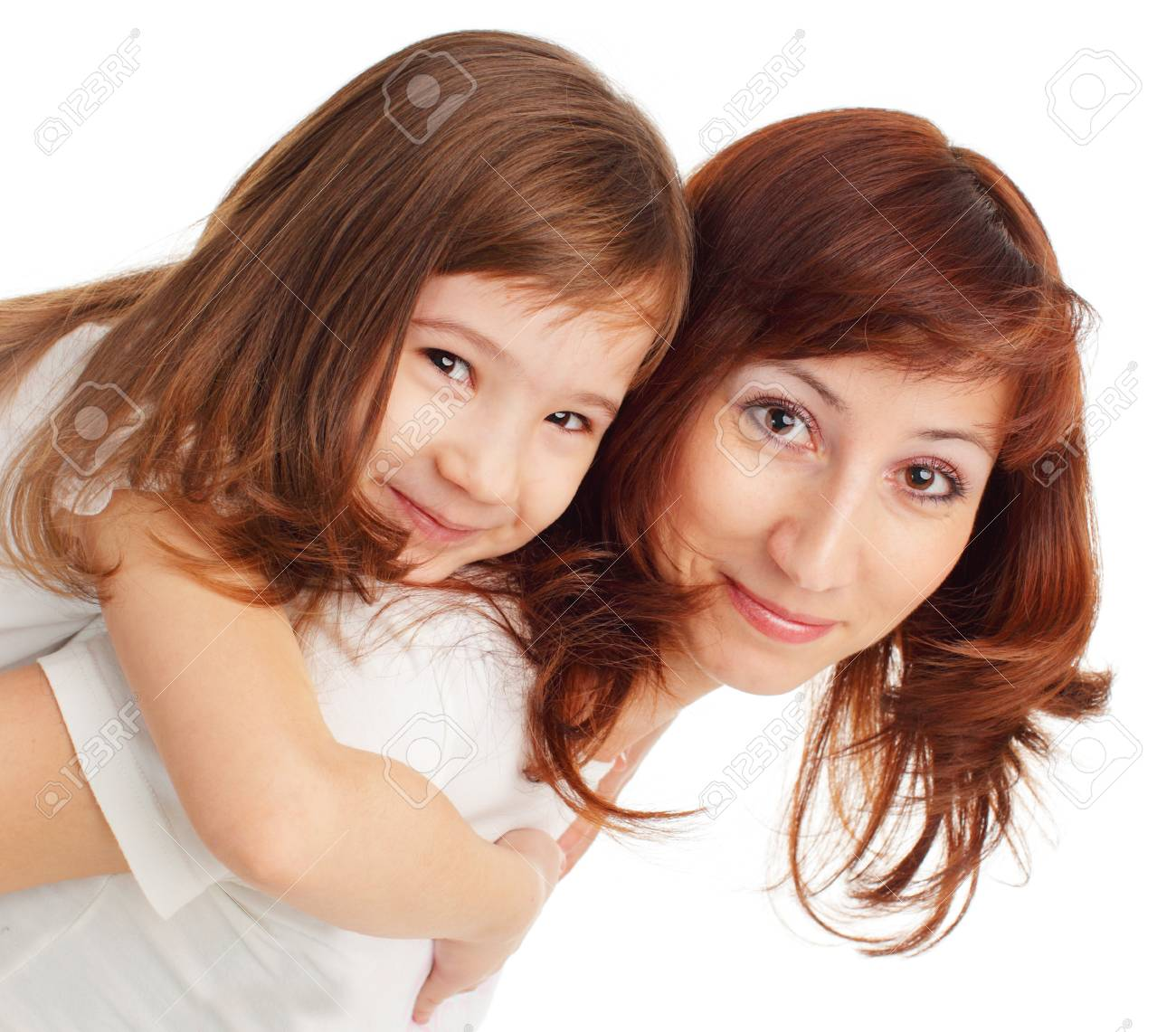 Mother with daughter isolated on white Stock Photo - 10297562