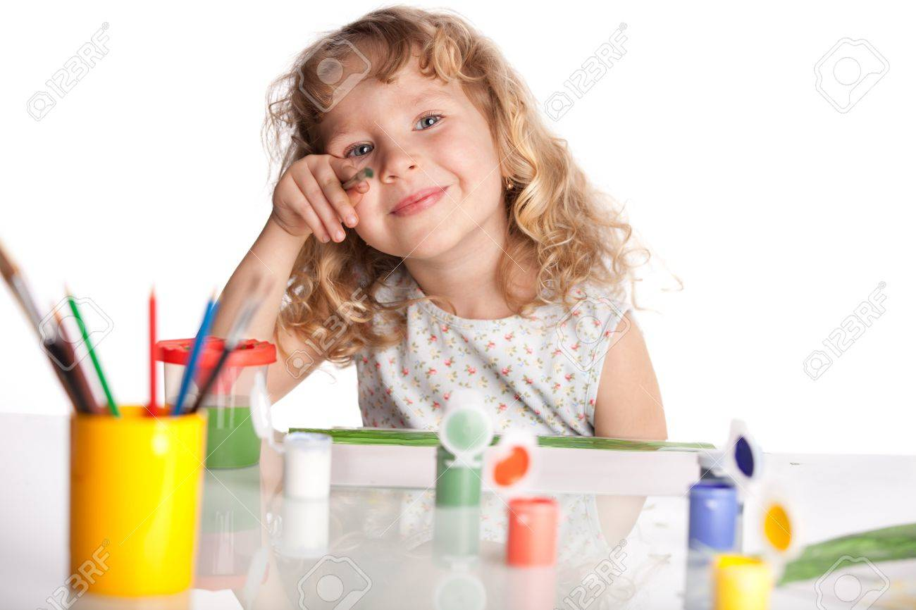 Littl child, drawing paint. Isolated on white Stock Photo - 12466004