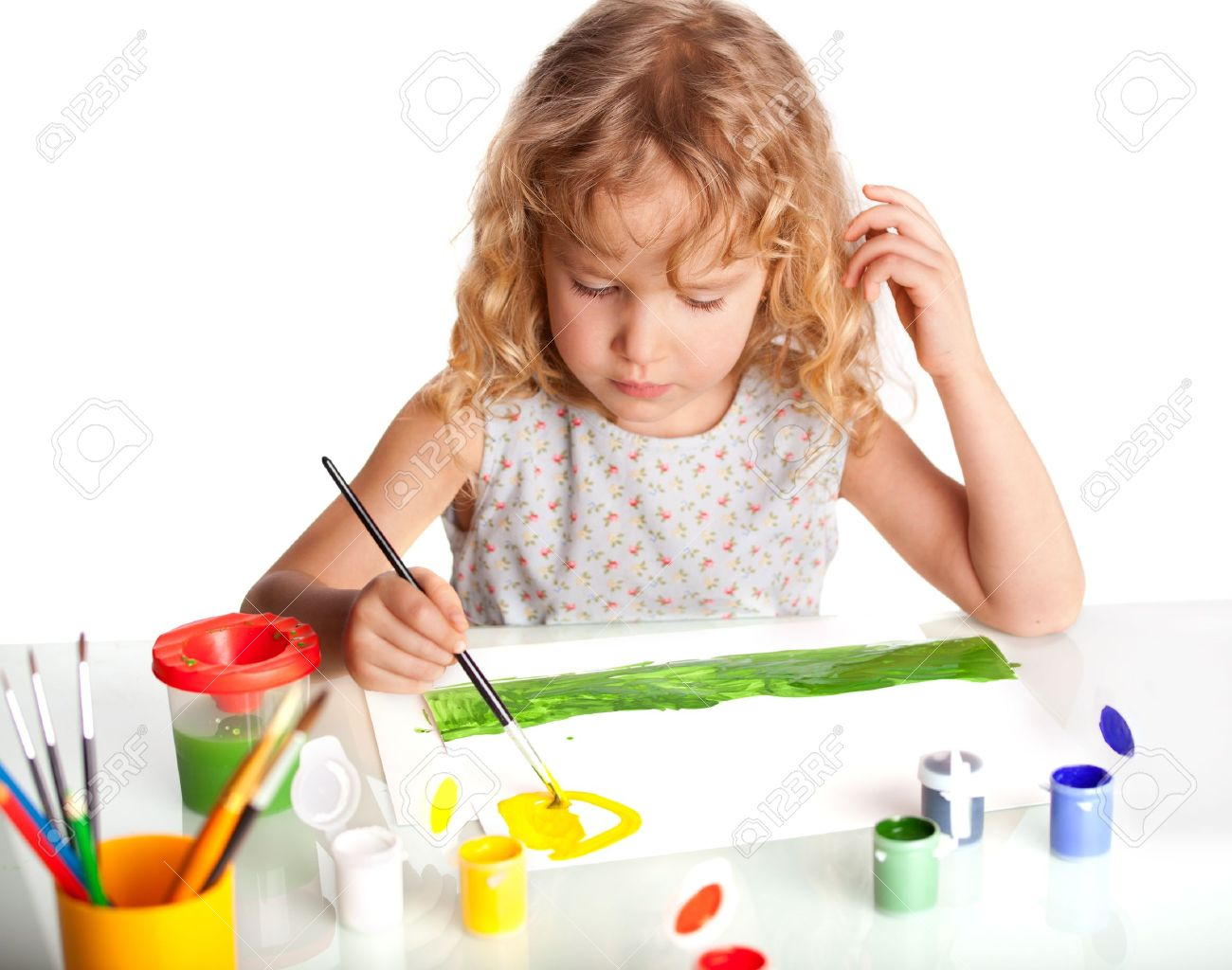littl child drawing paint isolated on white stock photo 12466269 - Children Drawing Images