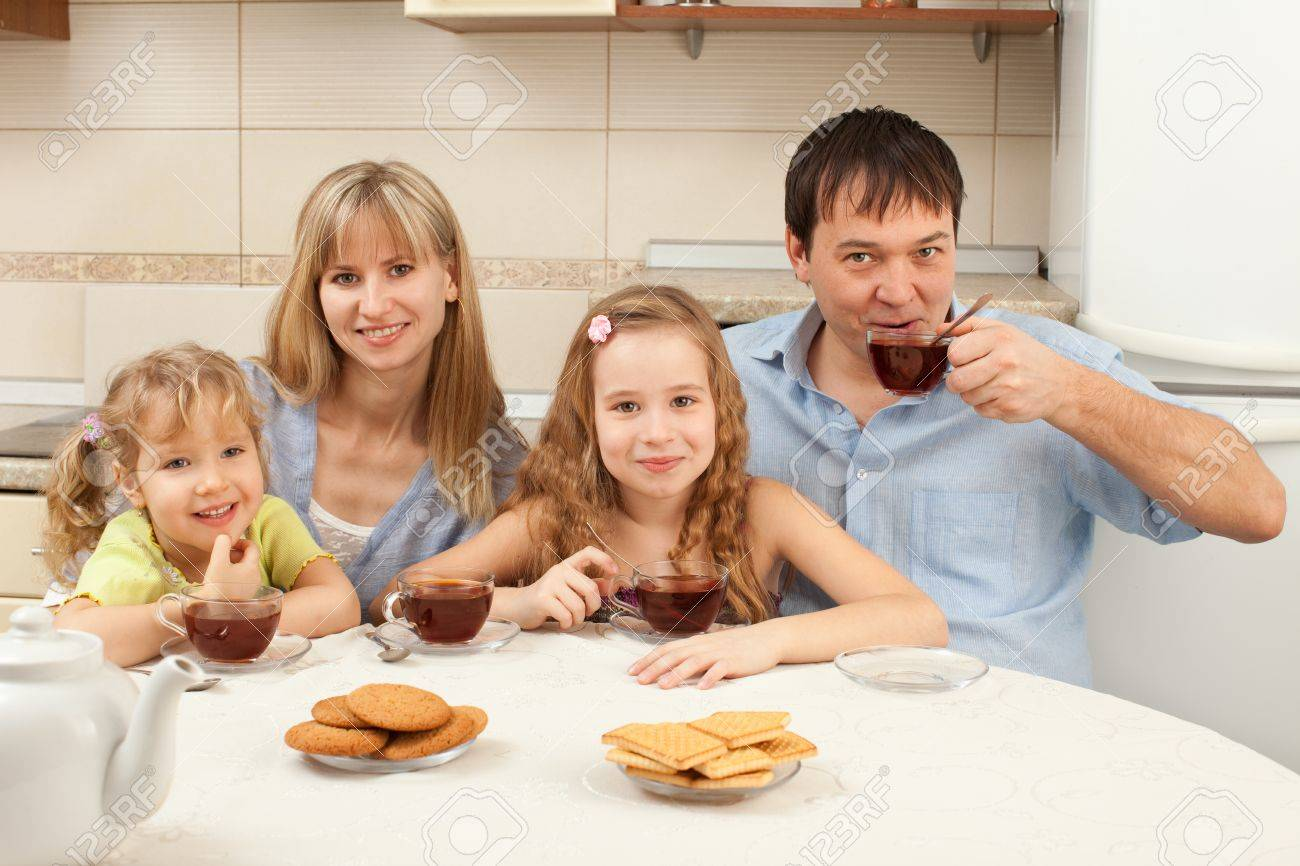 happy family at breakfast in the kitchen stock photo, picture and, Kitchen design