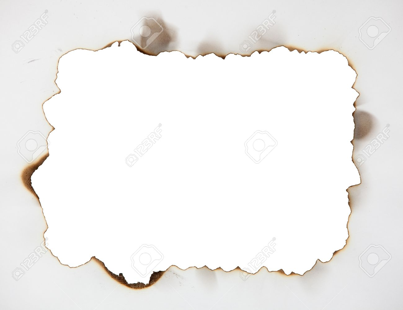 scorched frame on paper burnt hole stock photo 12940149