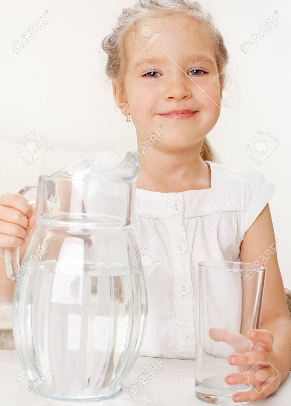 Home Drinking Water Child With Glass Pitcher Water Little Girl Drinking Water At