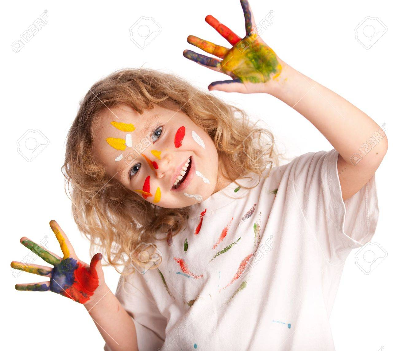 Little child, drawing paint. Isolated on white Stock Photo - 13085132