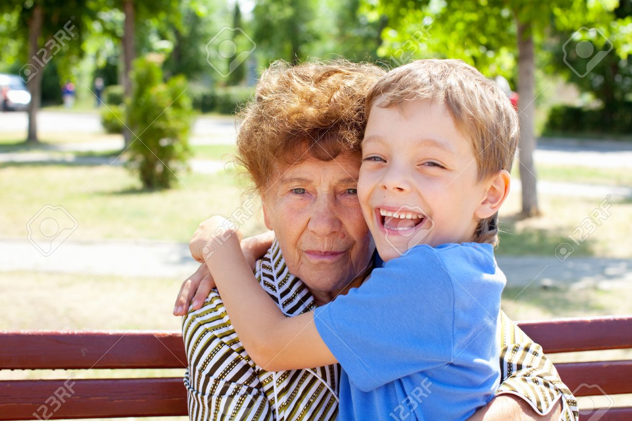 grandmother with grandchild old woman with grandson stock photo