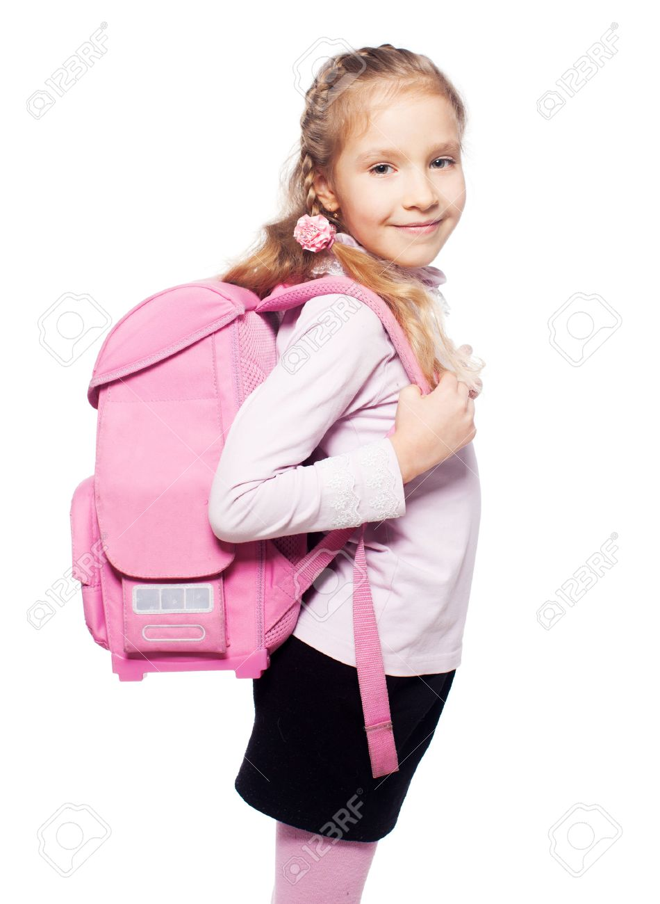 School bag for girl - Child With Schoolbag Girl With School Bag Isolated On White Stock Photo 29031668