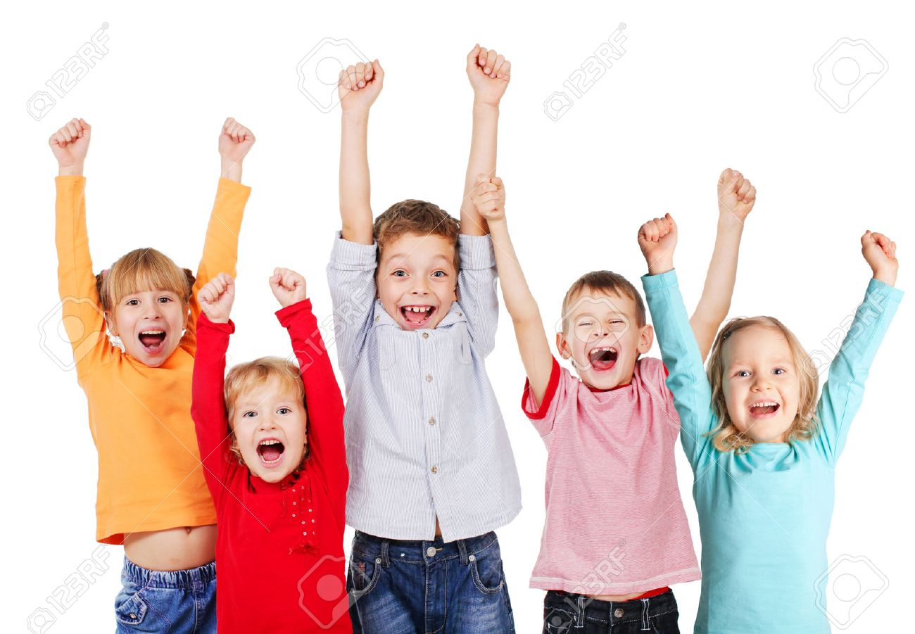 happy children with their hands up isolated on white stock photo