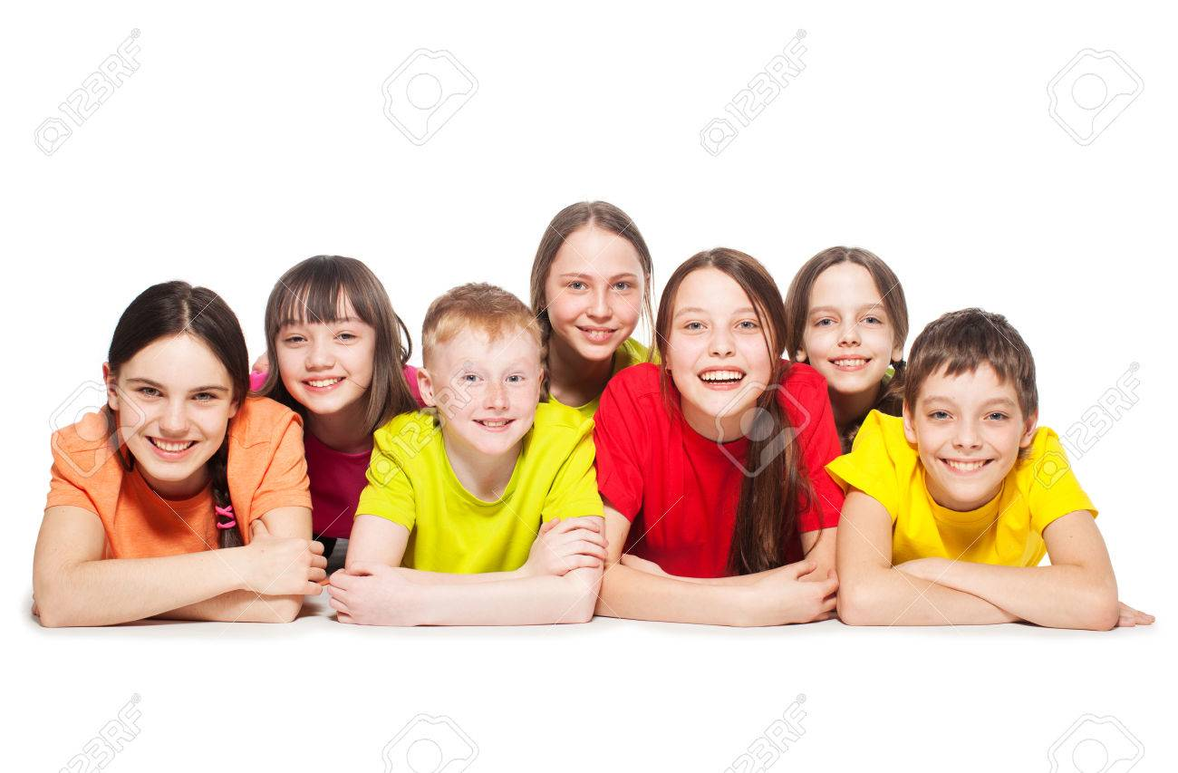 Happy group children isolated at white background. Smiling teen. Frendship boys and girls - 39333701