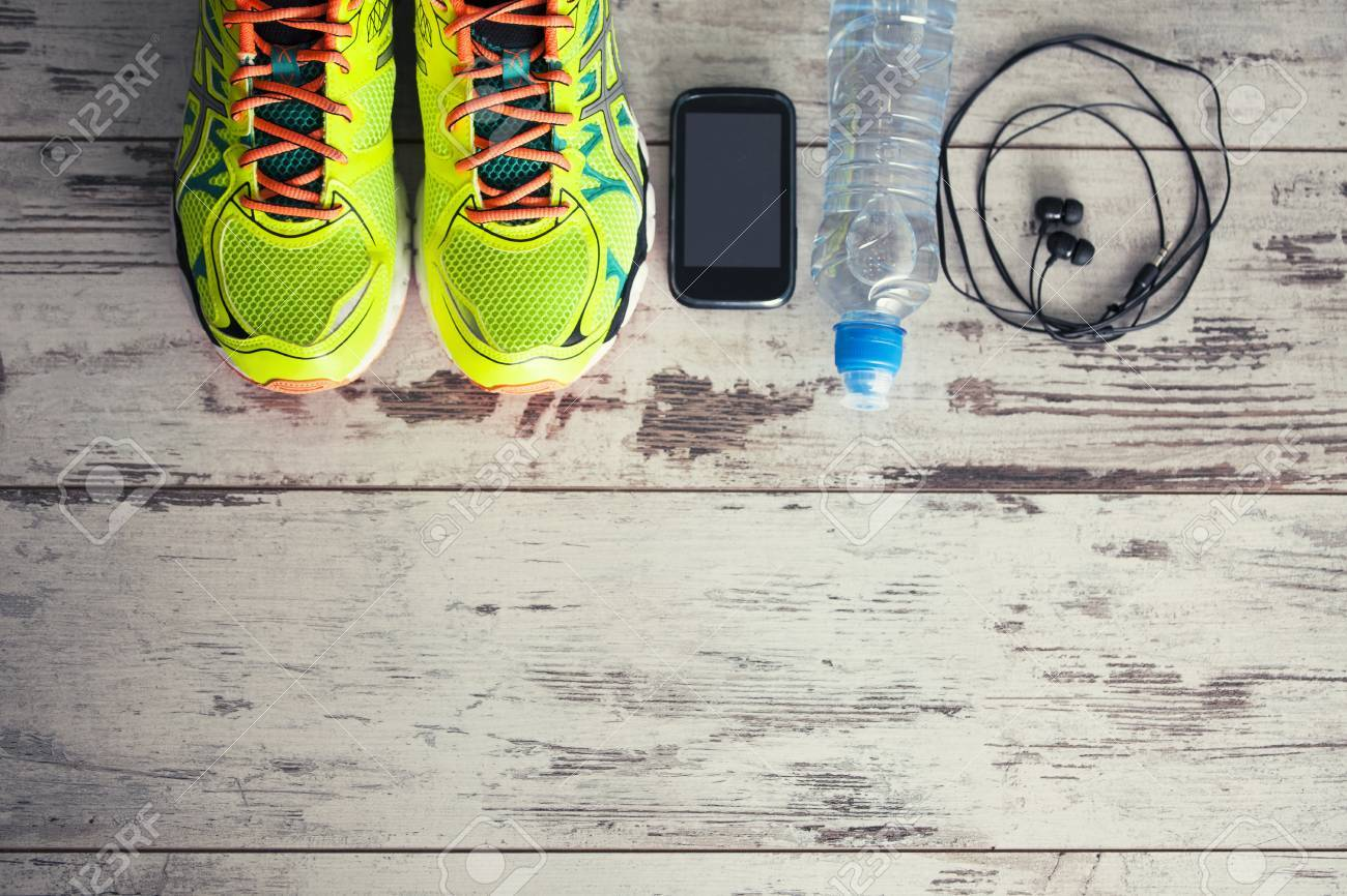 Accessories for sports, lying on the floor in a fitness club - 44362762