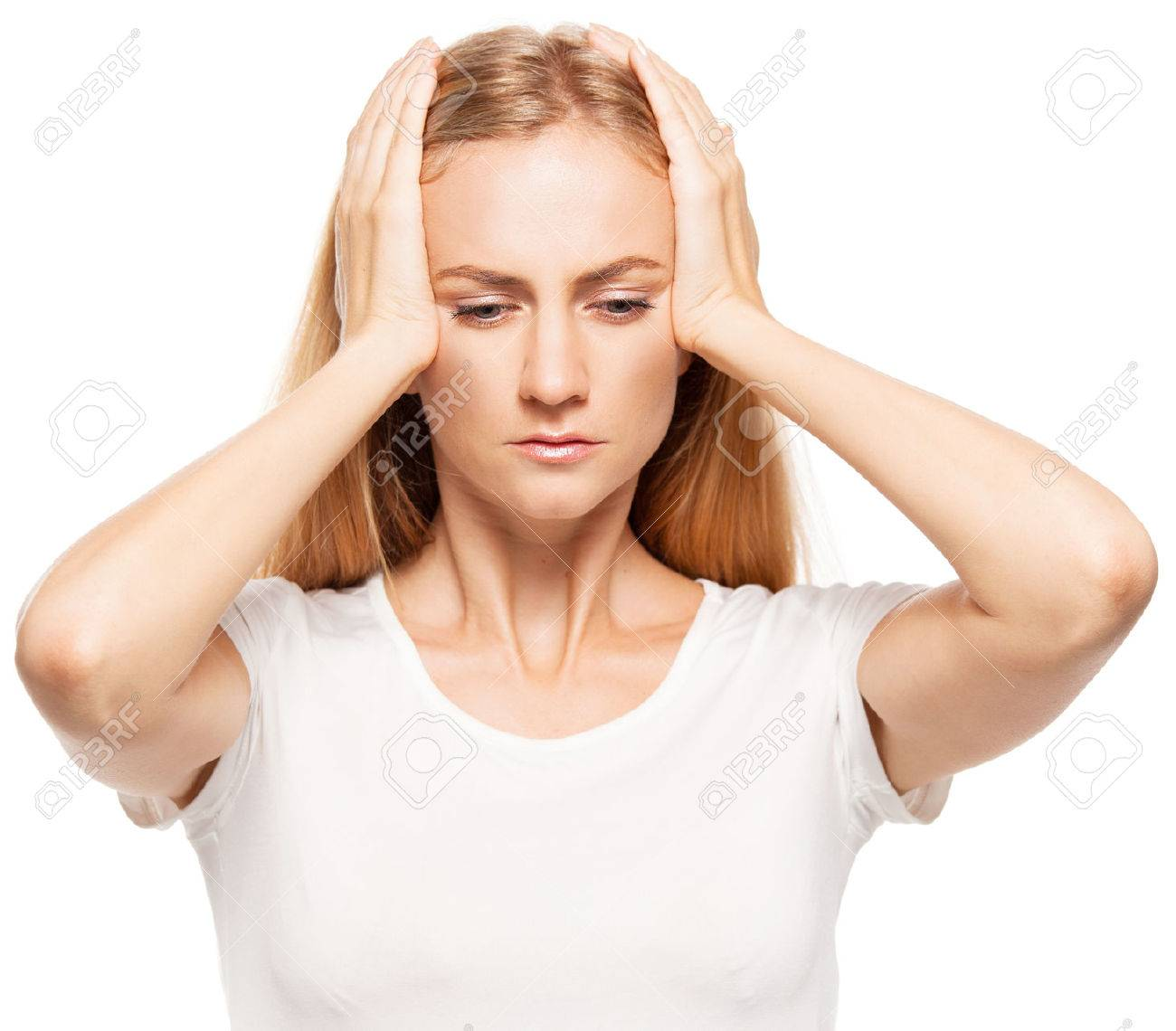 Woman at white background. Young sad female isolated - 45282655