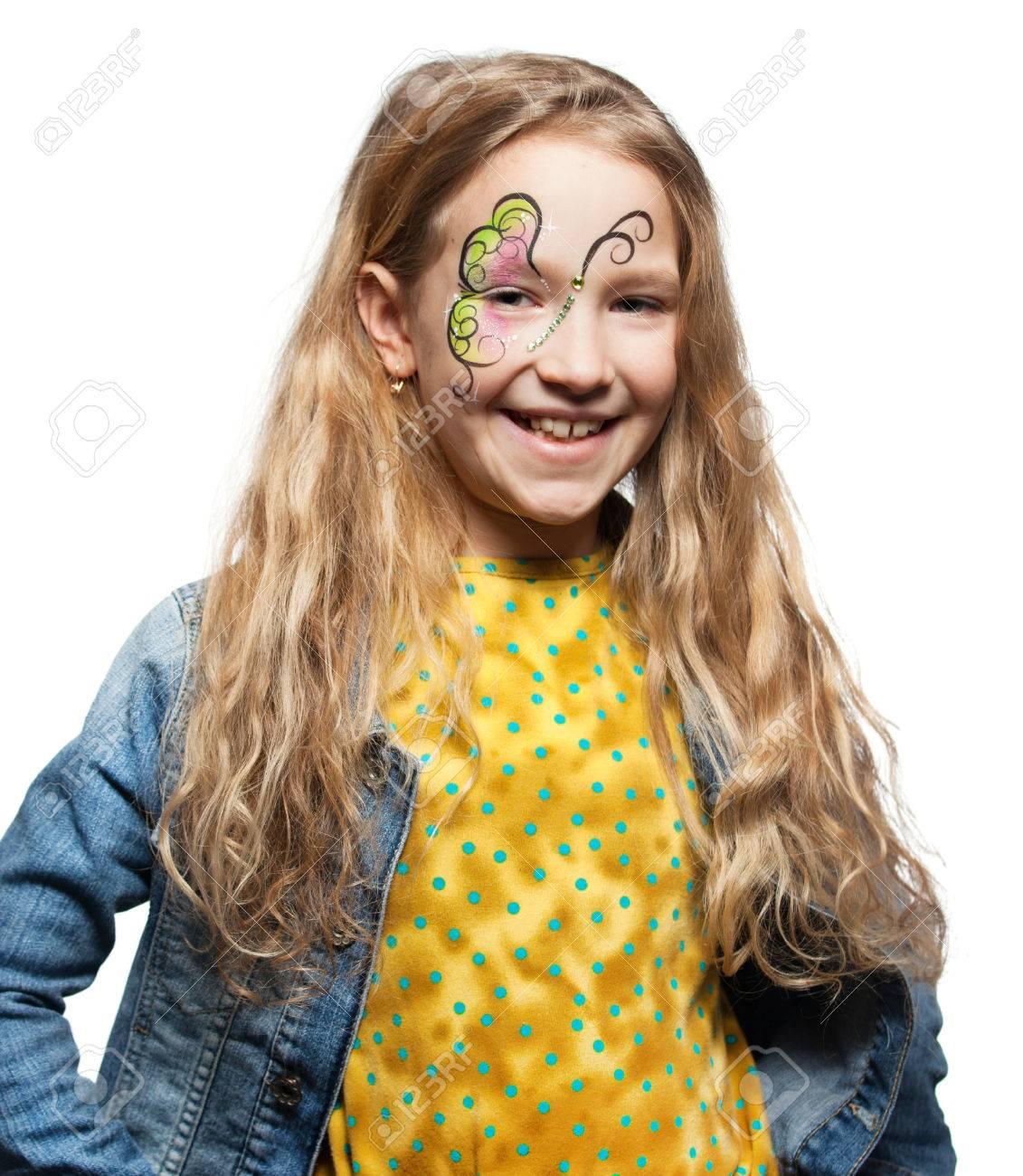 Niña Con Pintura De La Cara Niño Con El Arte Corporal Fotos