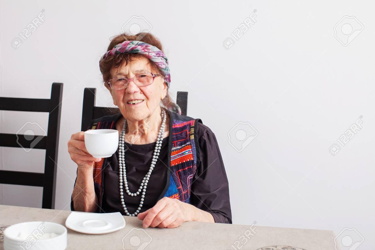 Mature granny coffee