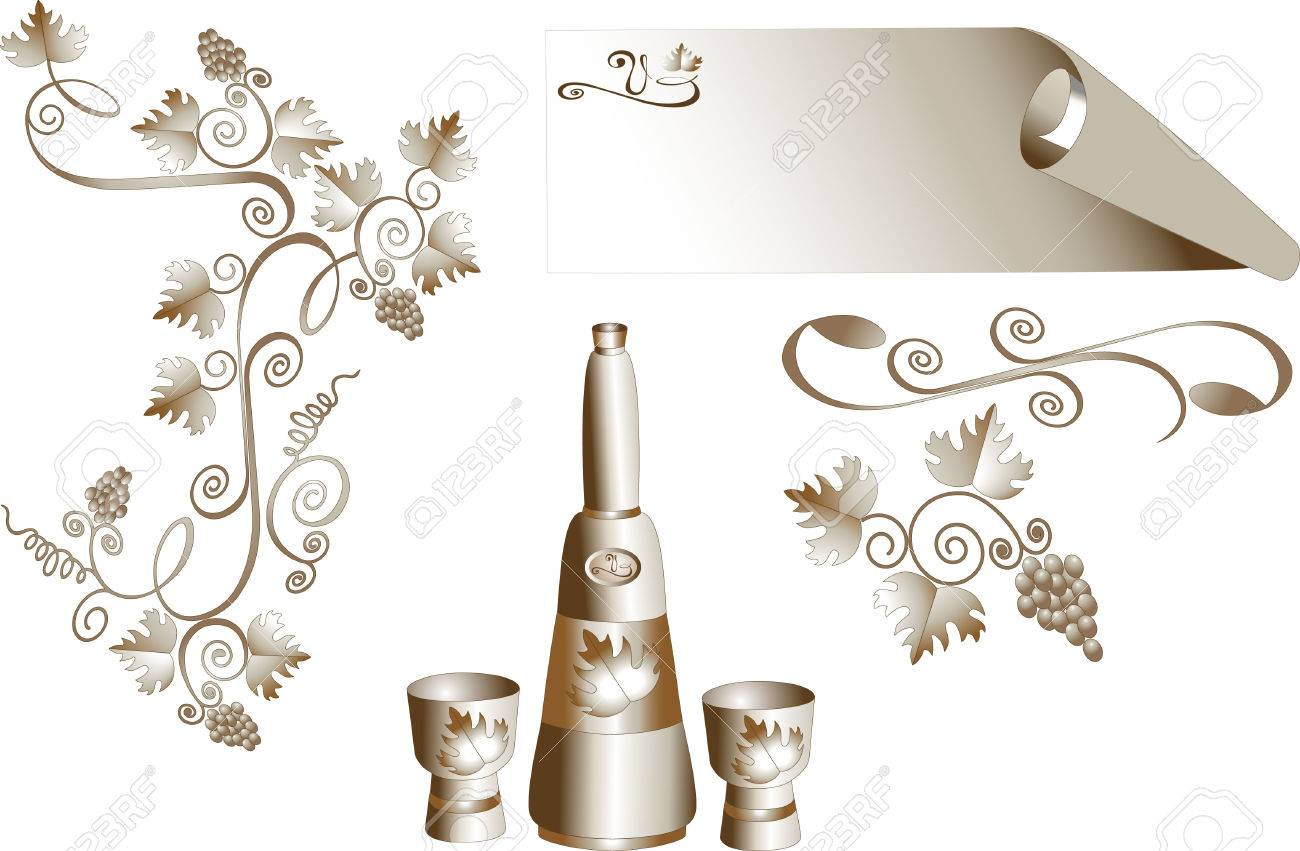 Decorative corner of grape leaves and a bottle with glasses. Pattern Stock Vector - 6996634