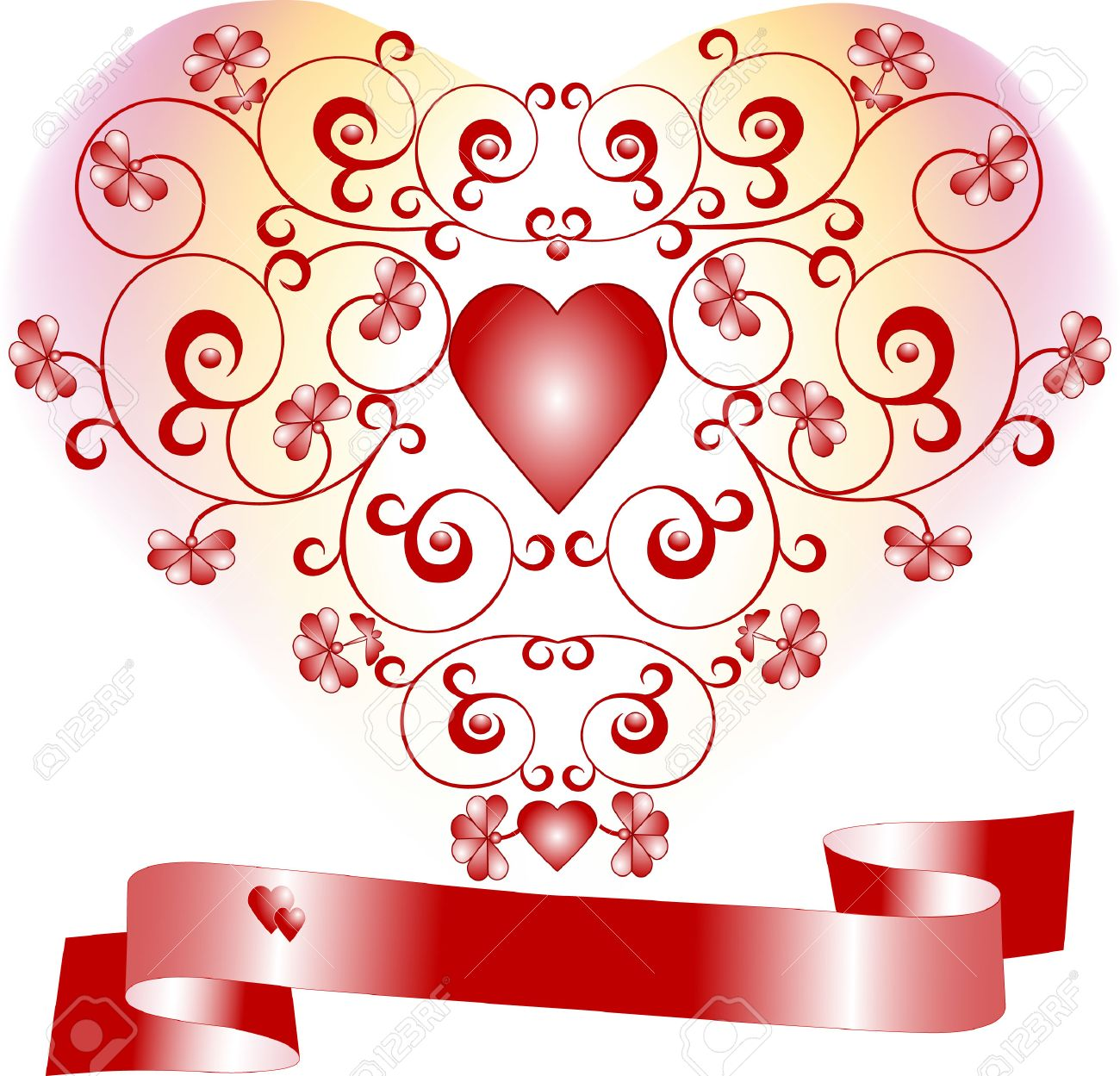 Heart on a background with flowers declaration of love. Postcard, Background . Stock Vector - 7059353