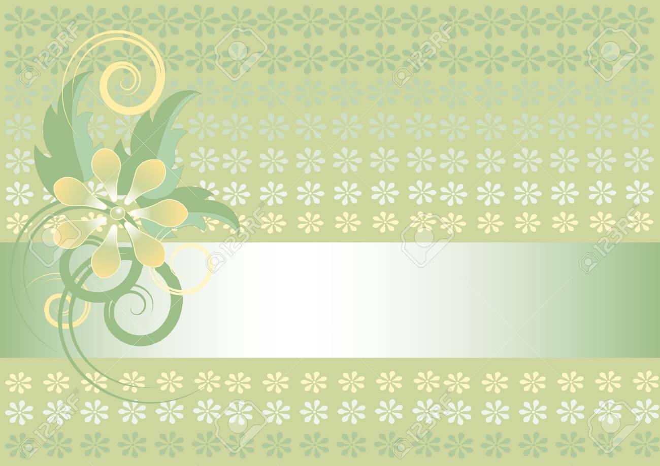 Light Green Background With Flower BannerWallpaper Stock Vector