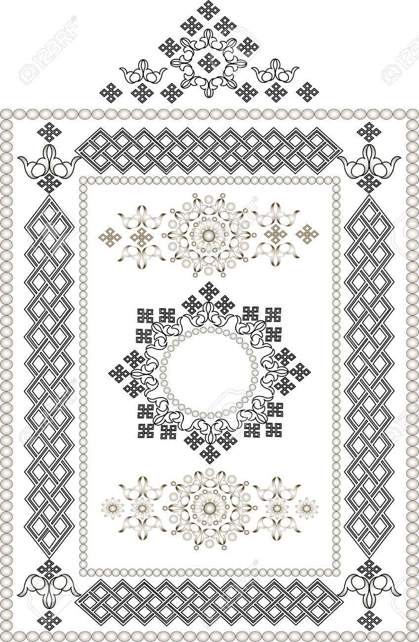 Decorative frame, border of oriental ornament.Graphic arts. Stock Vector - 7540839
