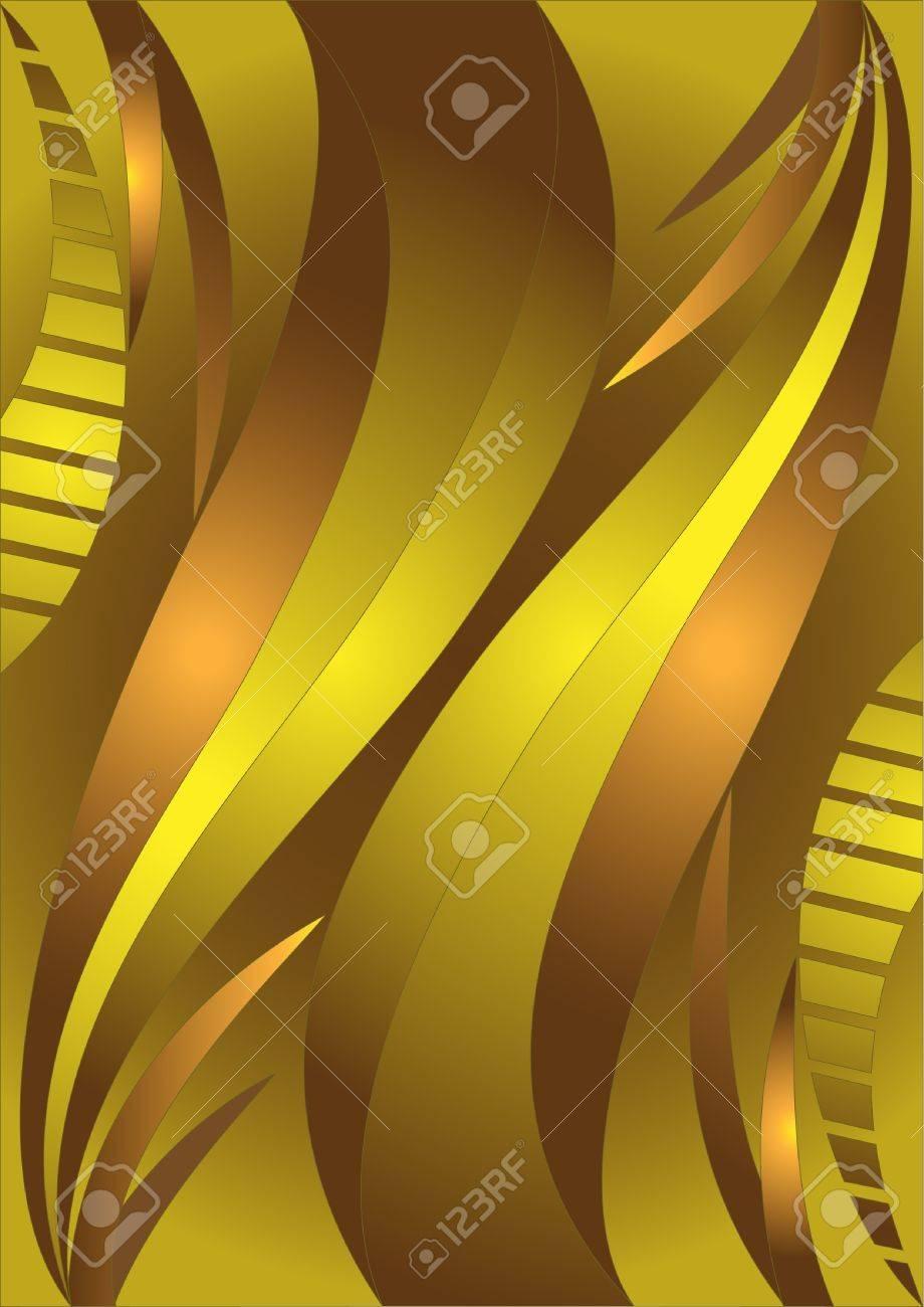 Golden wavy stripes in bright brown background.Banner.Background. Stock Vector - 9373504