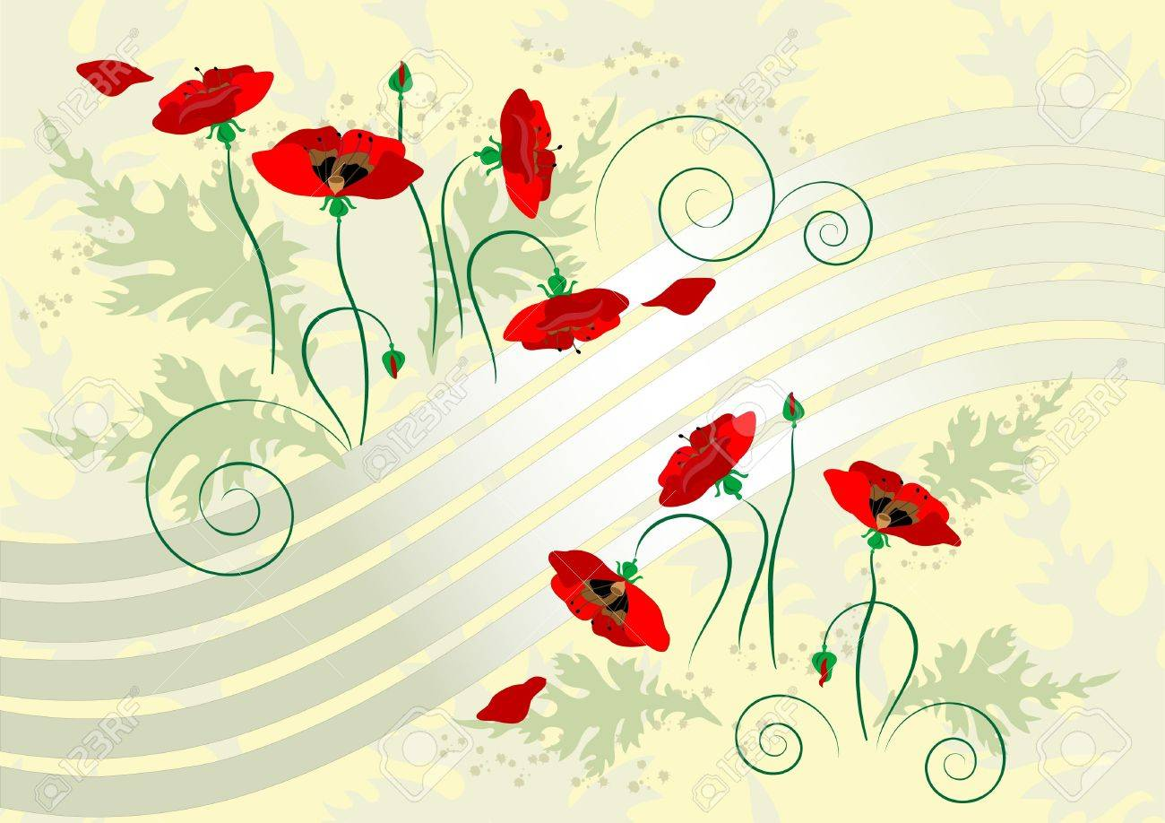 Flowers  poppy on a light yellow background. Stock Vector - 9933560