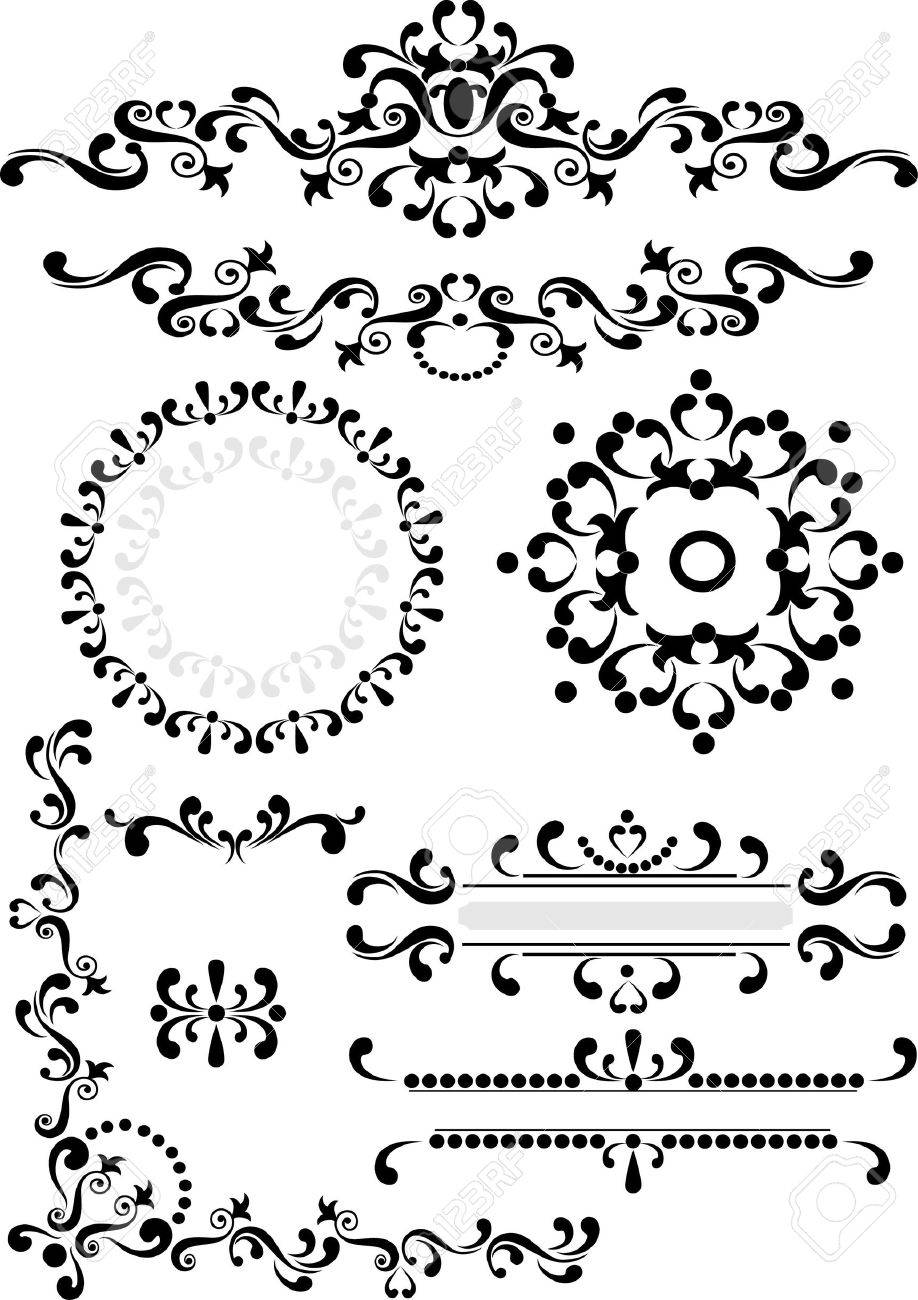 Black ornament corner,border,frame  on a white background. Graphic arts. Stock Vector - 10270666