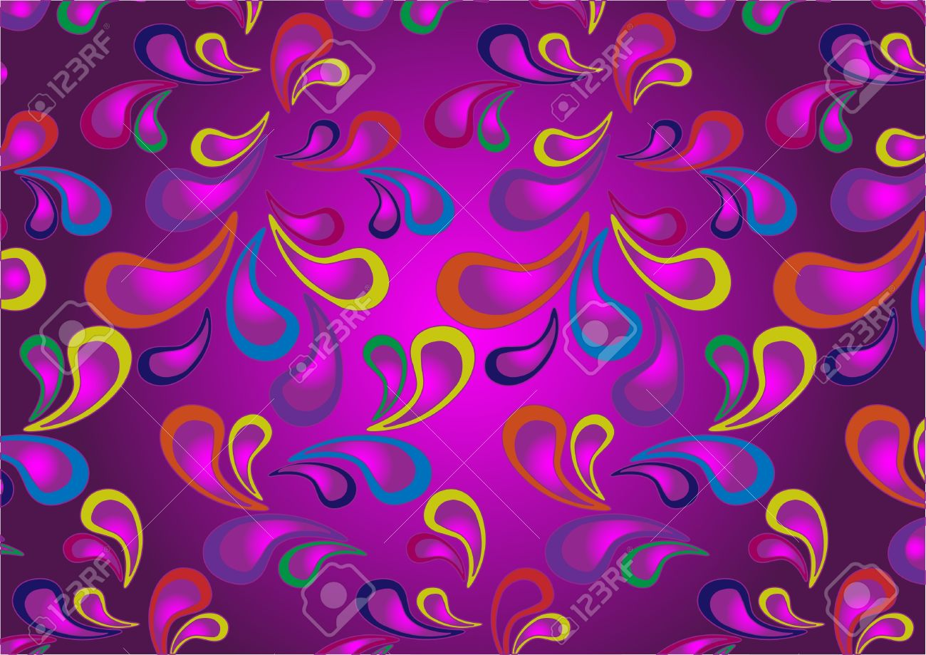 Variegated Paisley Pattern On A Dark Purple BackgroundWallpaper Stock Vector