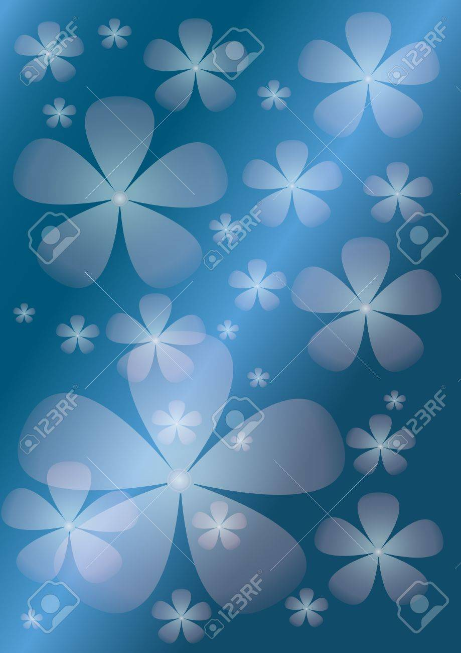 Abstract blue background with  transparent  flower. Background. Stock Vector - 11977059