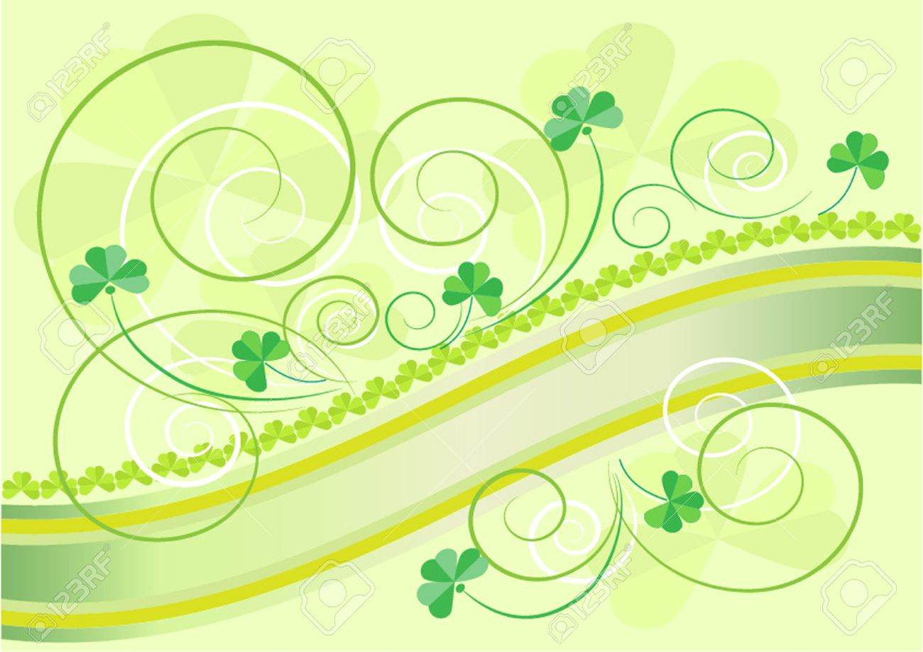 Petals clover decoration on a light green background.Postcard. Stock Vector - 12411446