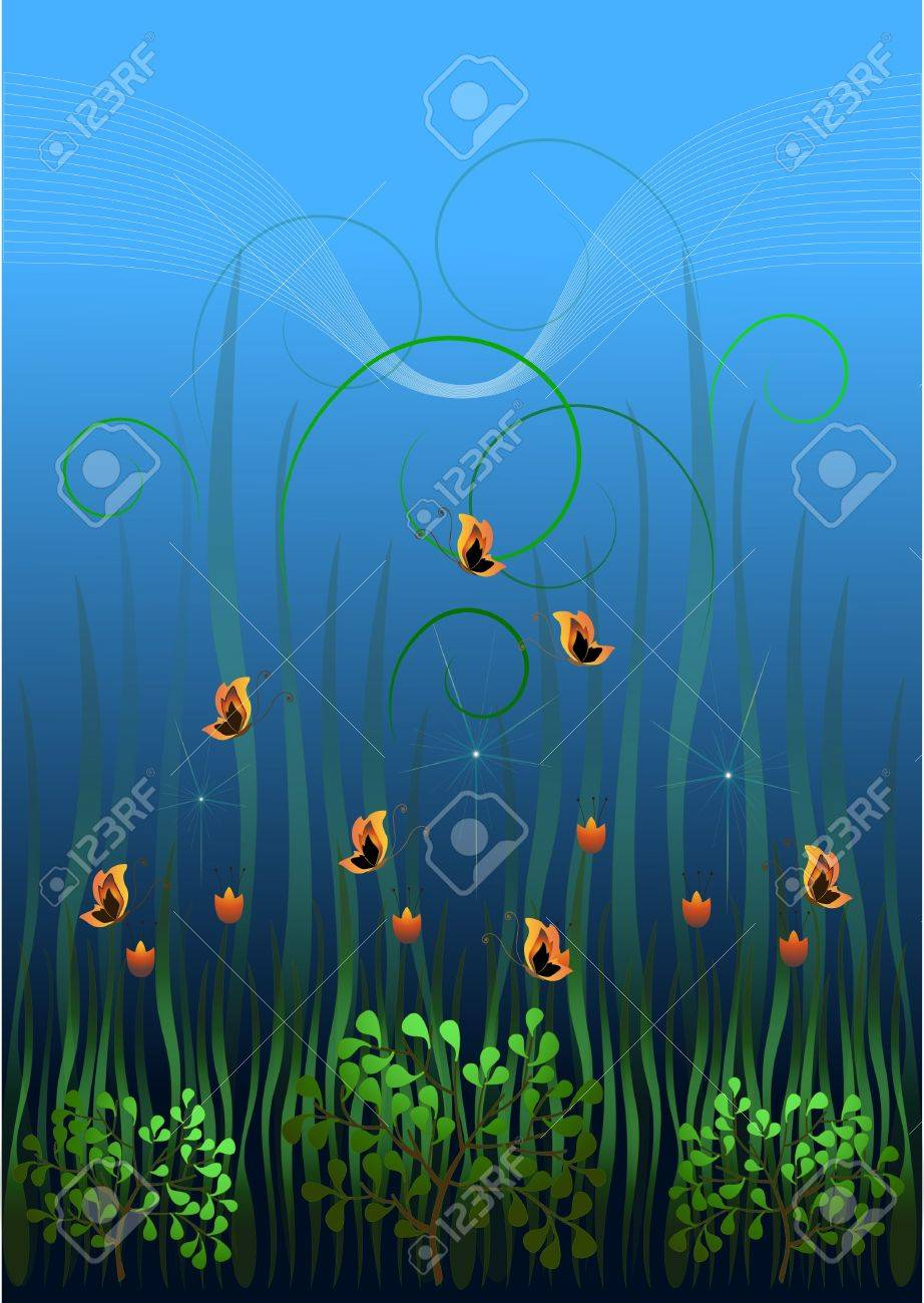 Red flowers and butterflies in the grass at dawn Stock Vector - 12956056