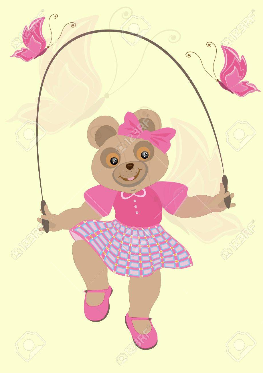 Bear girl in a crimson dress with butterflies jumps over the rope Stock Vector - 13773665