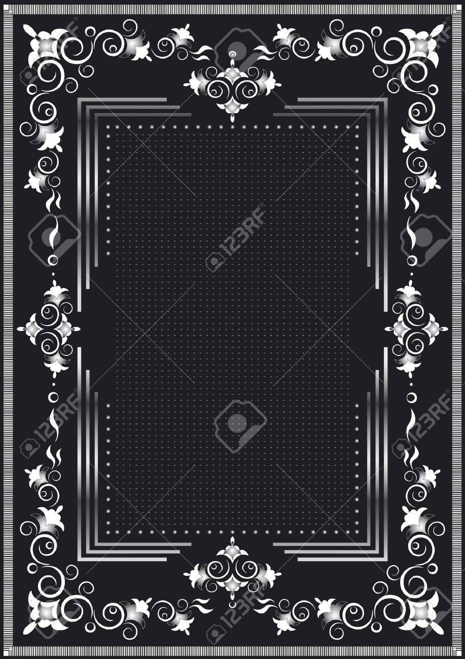 Decorative frame for silver dekor on a black background Stock Vector - 14974548