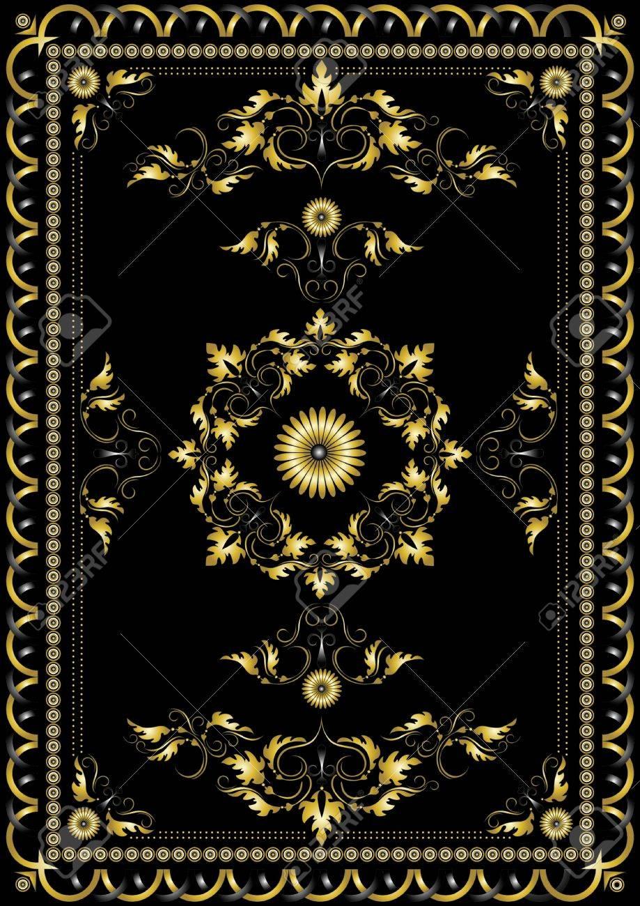 Motif Decoratif D Or Oriental Pour Le Tapis Sur Un Fond Noir Clip