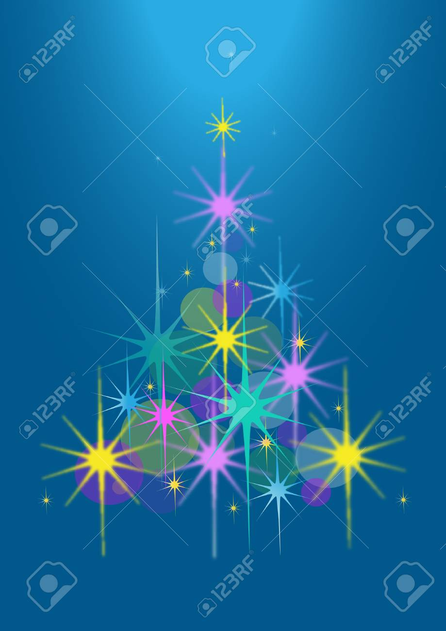 Abstract Christmas tree of stars on a blue background Stock Vector - 16520719