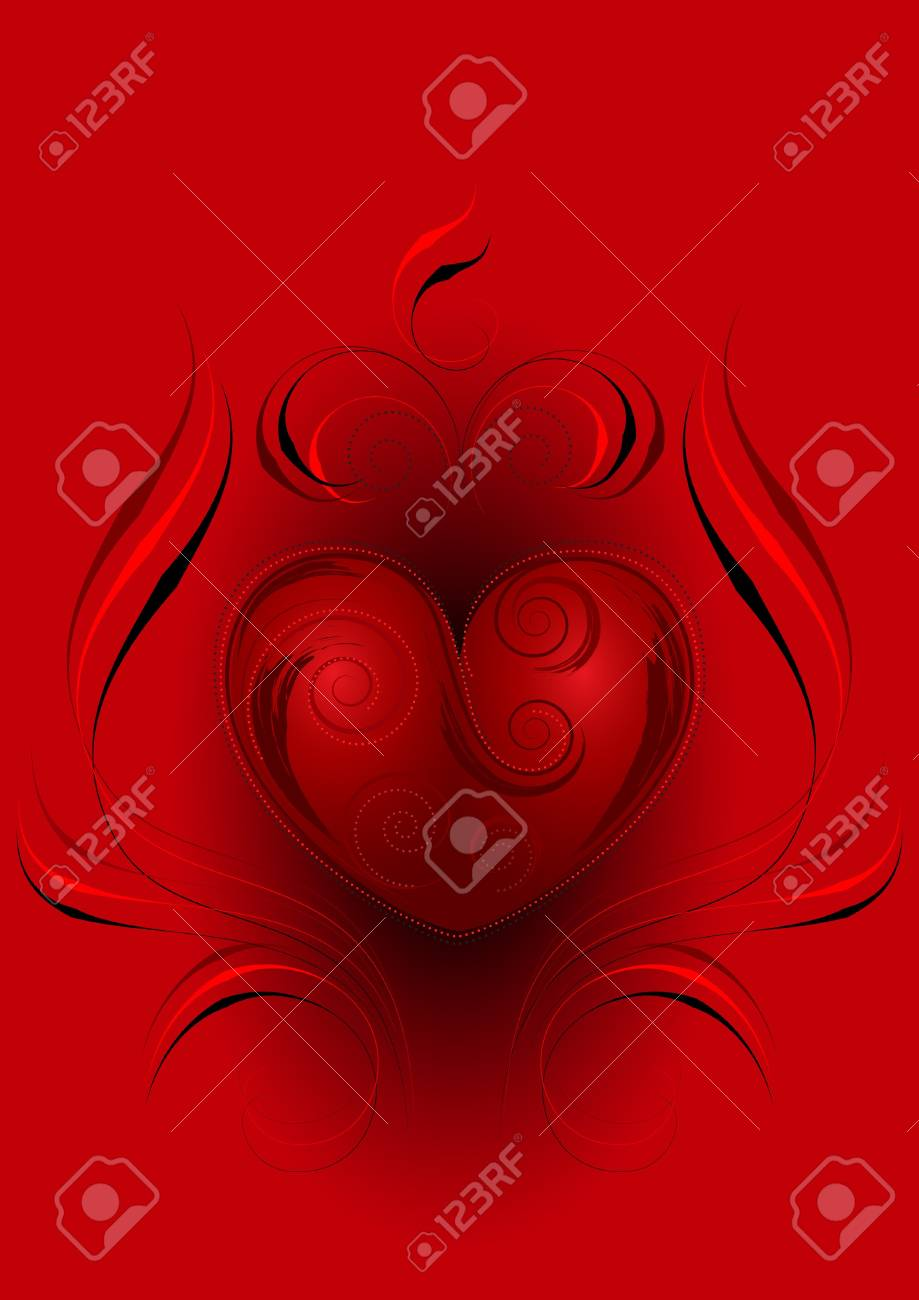 Red heart with the decor  on a red background Stock Vector - 17665813