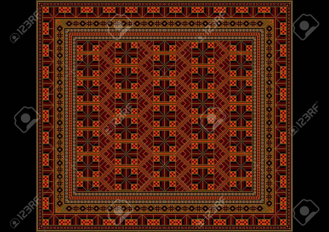 Geometrische Verzierung Von Rauten In Orange Und Brauntone Fur