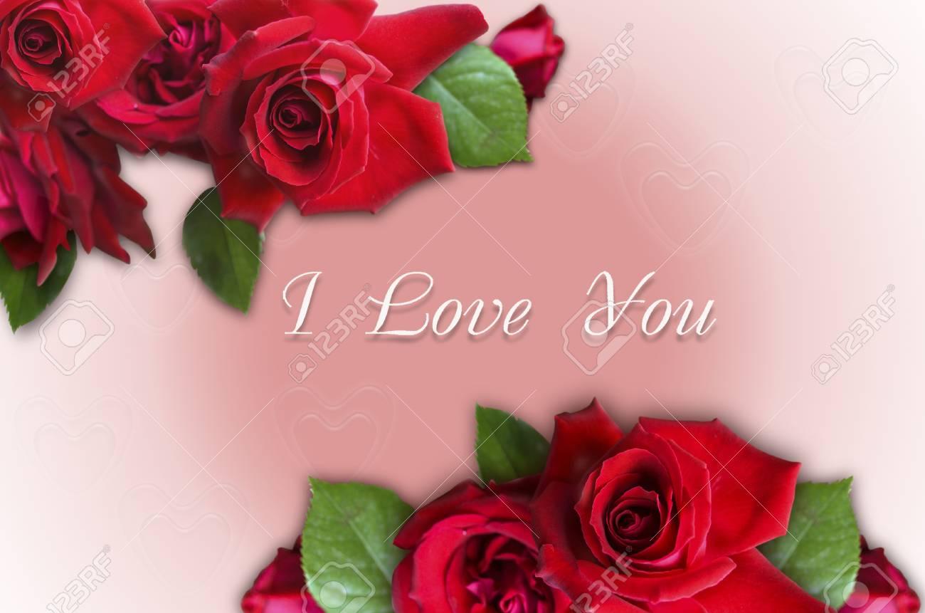 Bouquet De Roses Avec Je T Aime Sur Un Fond Degrade Rose Avec Des
