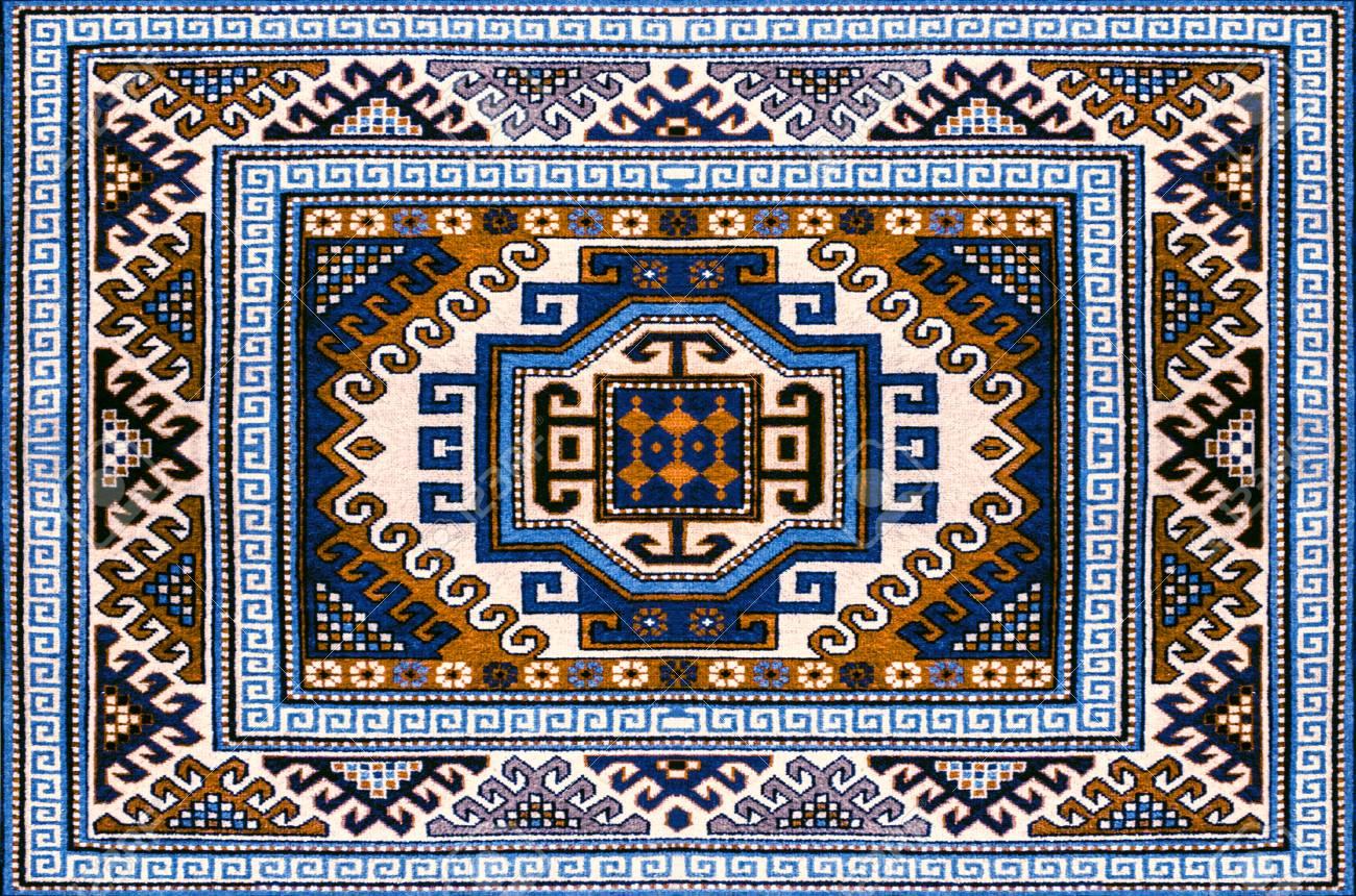 Banque Du0027images   Tapis En Laine Motley Avec Motif Géométrique Folklorique  Dans Les Tons Bleu Et Marron