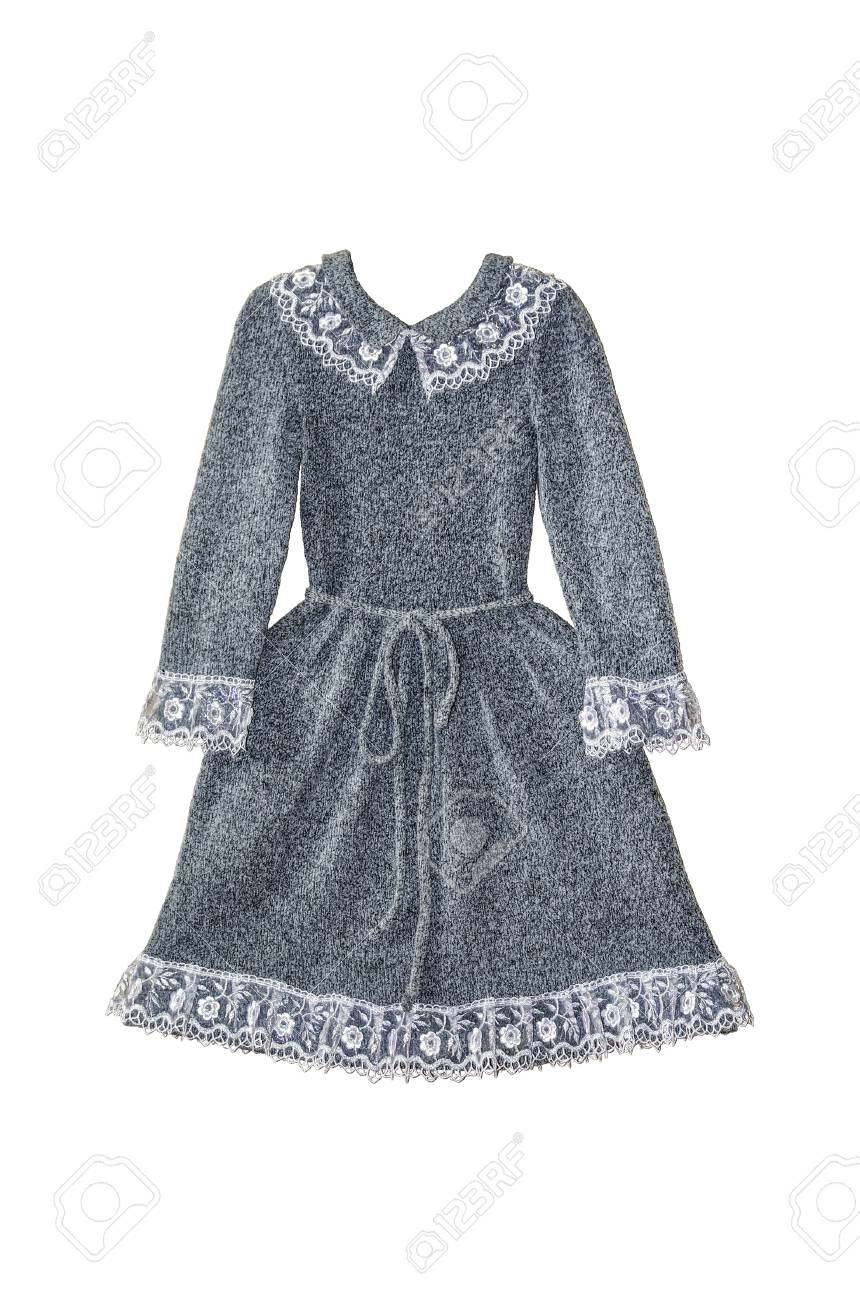 f44d9d633c9c Isolated Winter Grey Woolen Dress For Little Girl With Lace Collar ...