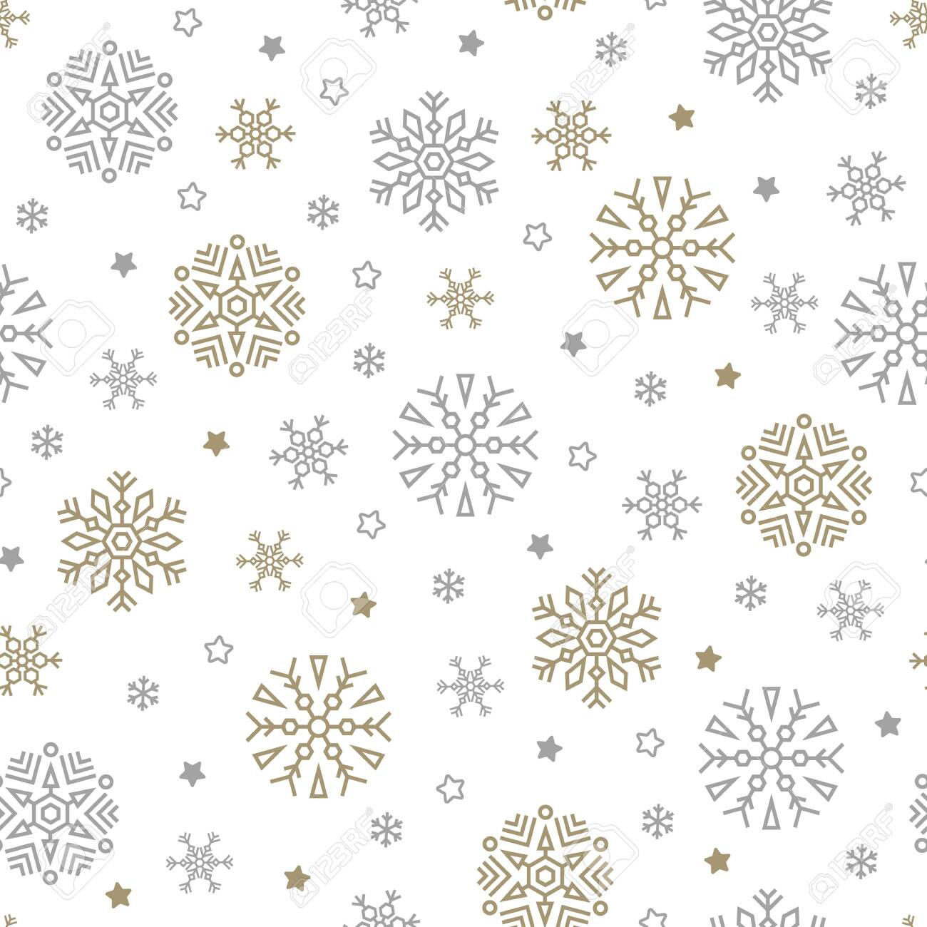 Christmas seamless pattern with snowflakes and stars on white background. Vector illustration. New Year background. For web, wrapping paper, scrapbooking, for printing on textile, crockery, package. - 137168018