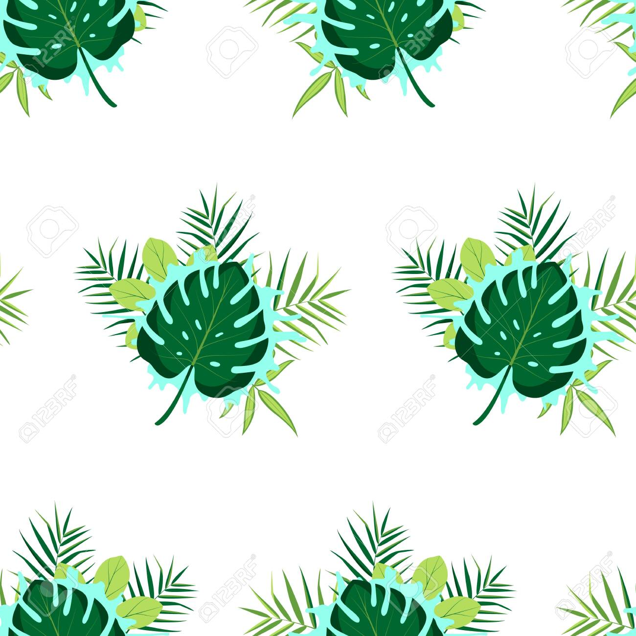 Tropical seamless pattern with leaves. Vector illustration. - 146843682