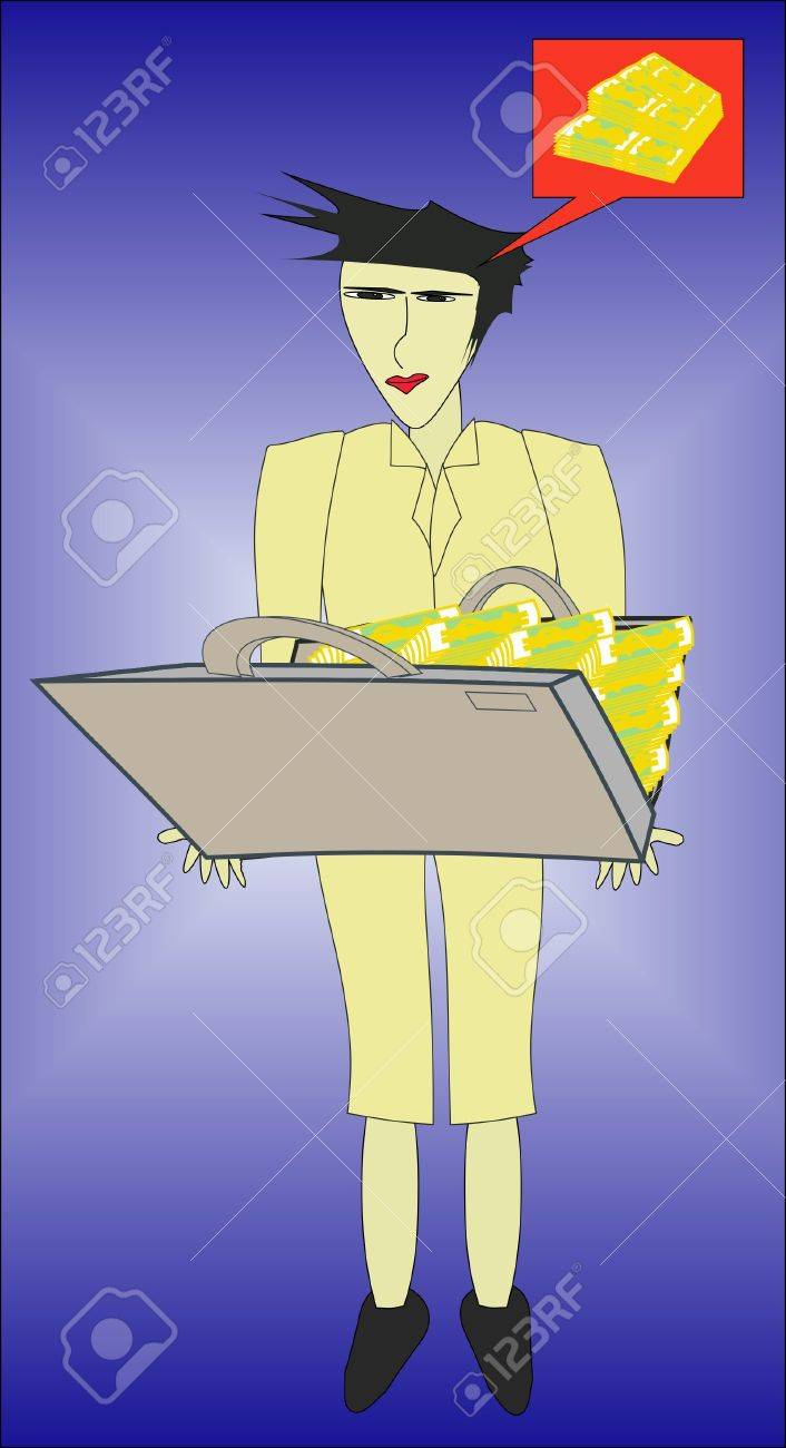 The man sees before itself a suitcase with money Stock Vector - 13734347