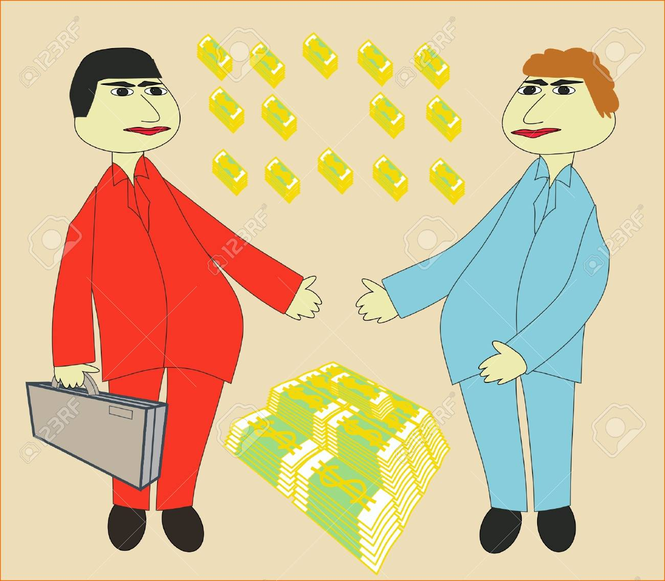 Two men and are a lot of money Stock Vector - 13734345