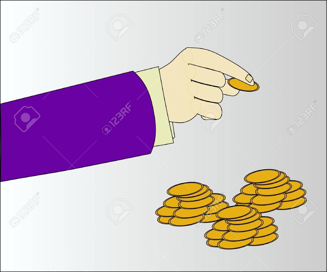 man s hand with coins Stock Vector - 13921815