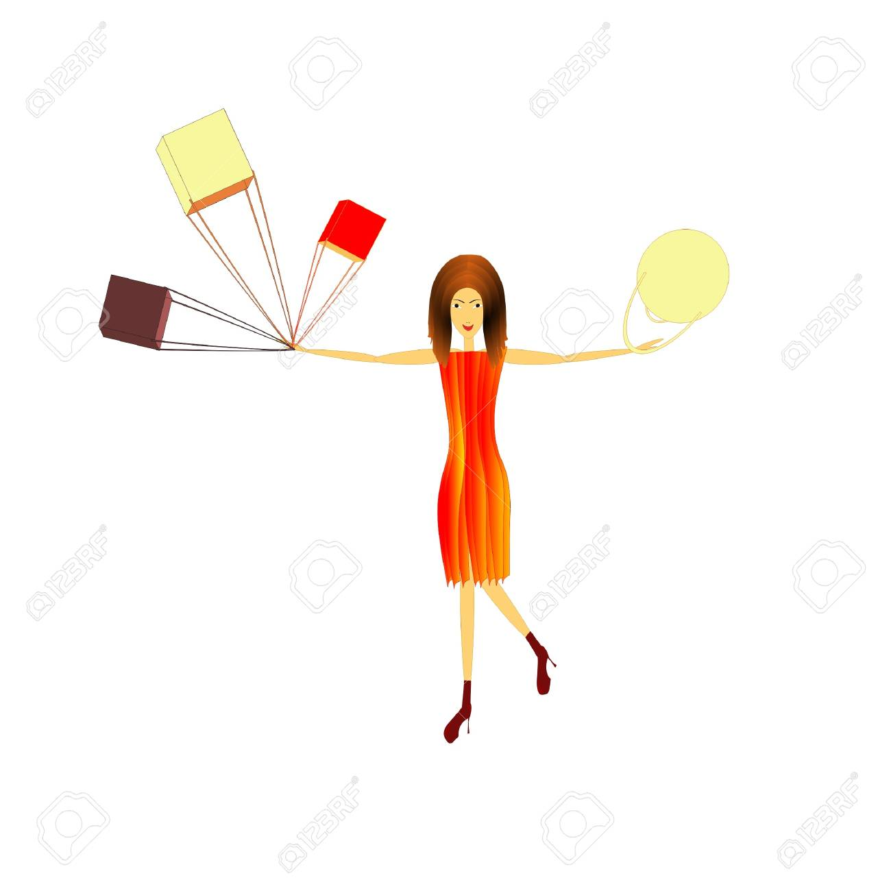 woman with purchases, vector Stock Vector - 19257962