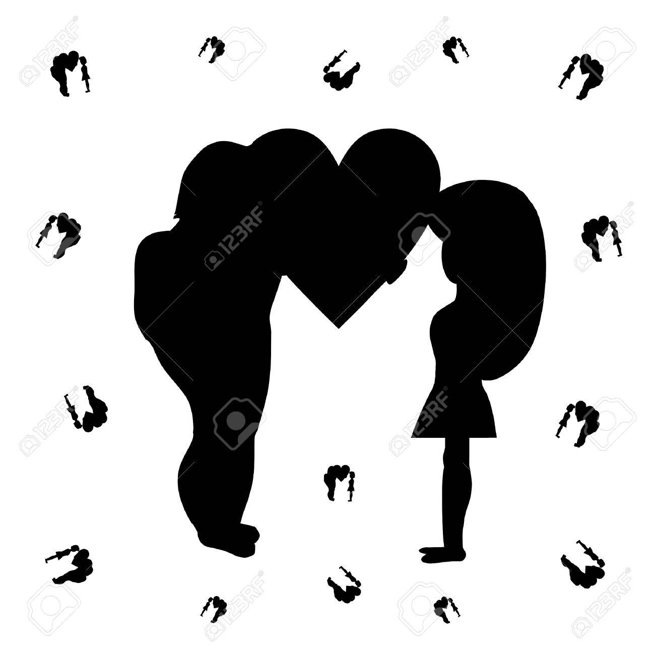 Silhouette of the man giving the heart to the woman Stock Vector - 20184114
