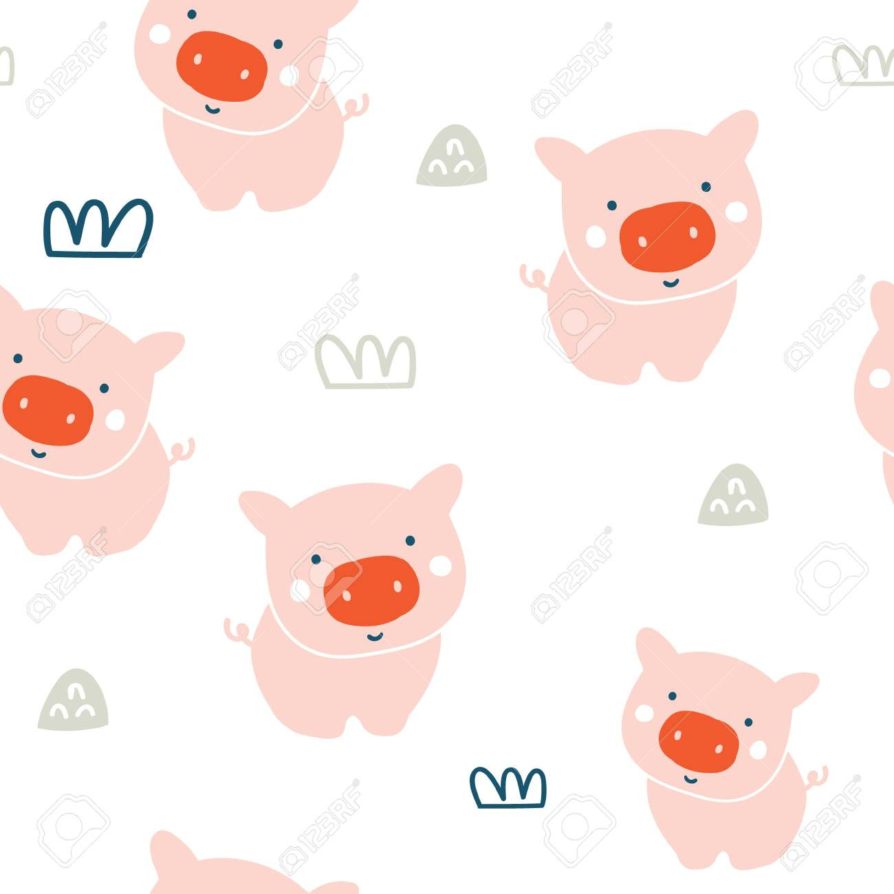 cute pigs characters pink seamless pattern pig character doodle