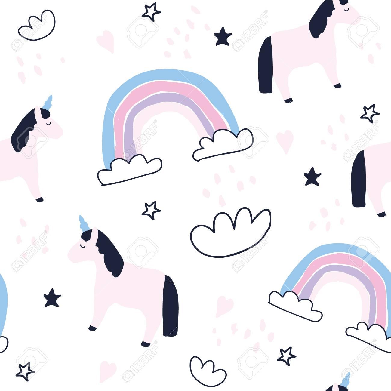 Cute unicorns and rainbows seamless pattern. Baby unicorn wallpaper. Newborn baby textile design.