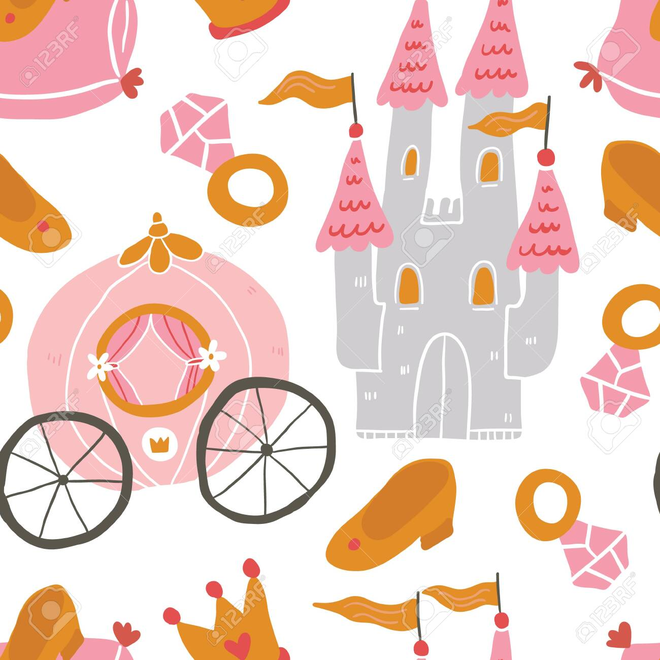 Hand Drawn Princess Seamless Pattern For Textile With Castle