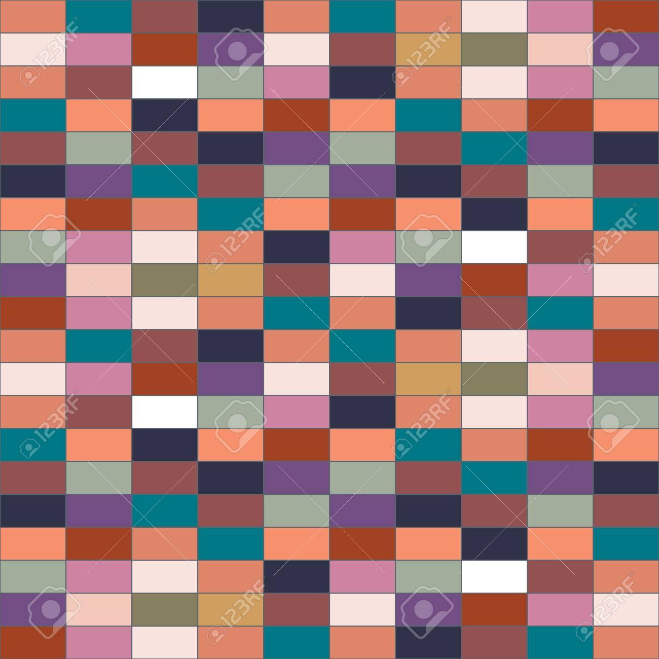 Attraktiv Die Wand Aus Farbigen Steinen. Bunte Vektor Muster Von Rechtecke. Abbildung Für  Die