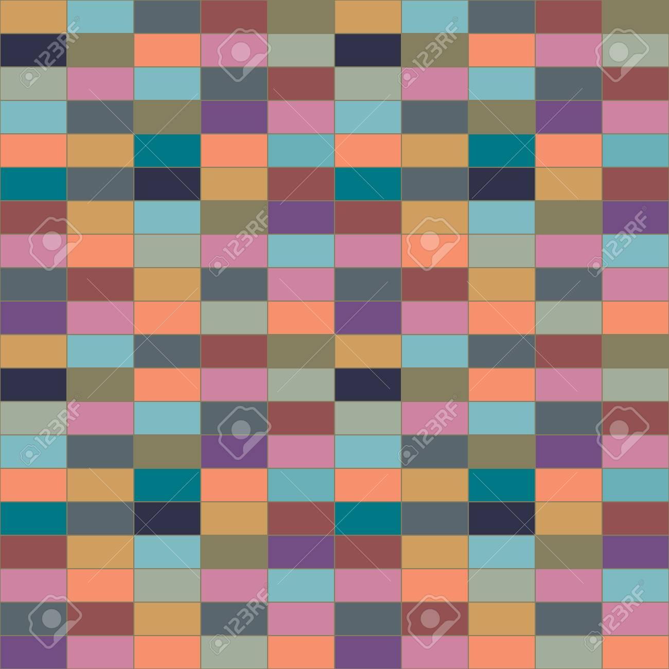 Die Wand Aus Farbigen Steinen. Bunte Vektor Muster Von Rechtecke. Abbildung Für  Die
