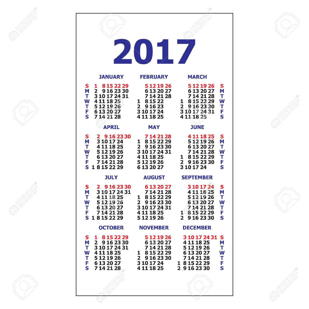 2017 Pocket Calendar. Template Calendar Grid. Vertical Orientation Of Days  Of Week. Vector  Days Of The Week Calendar Template