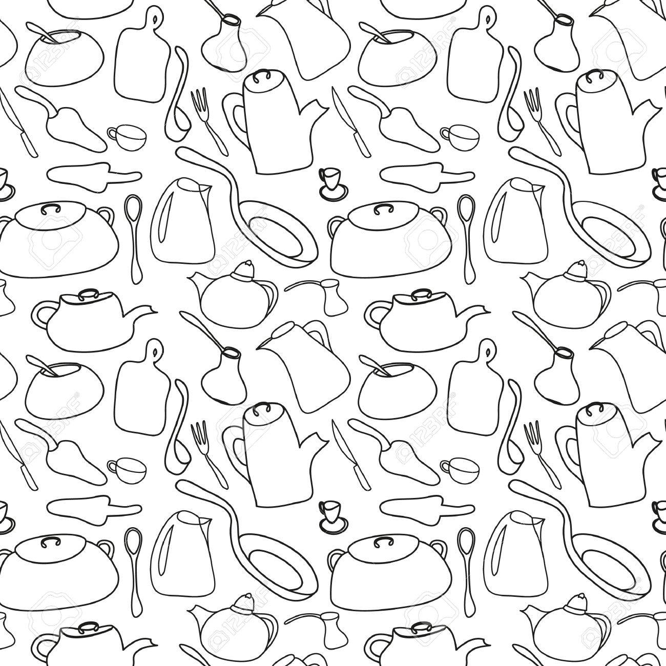 Kitchen Art Design Vector Illustration. Seamless Black And White ...