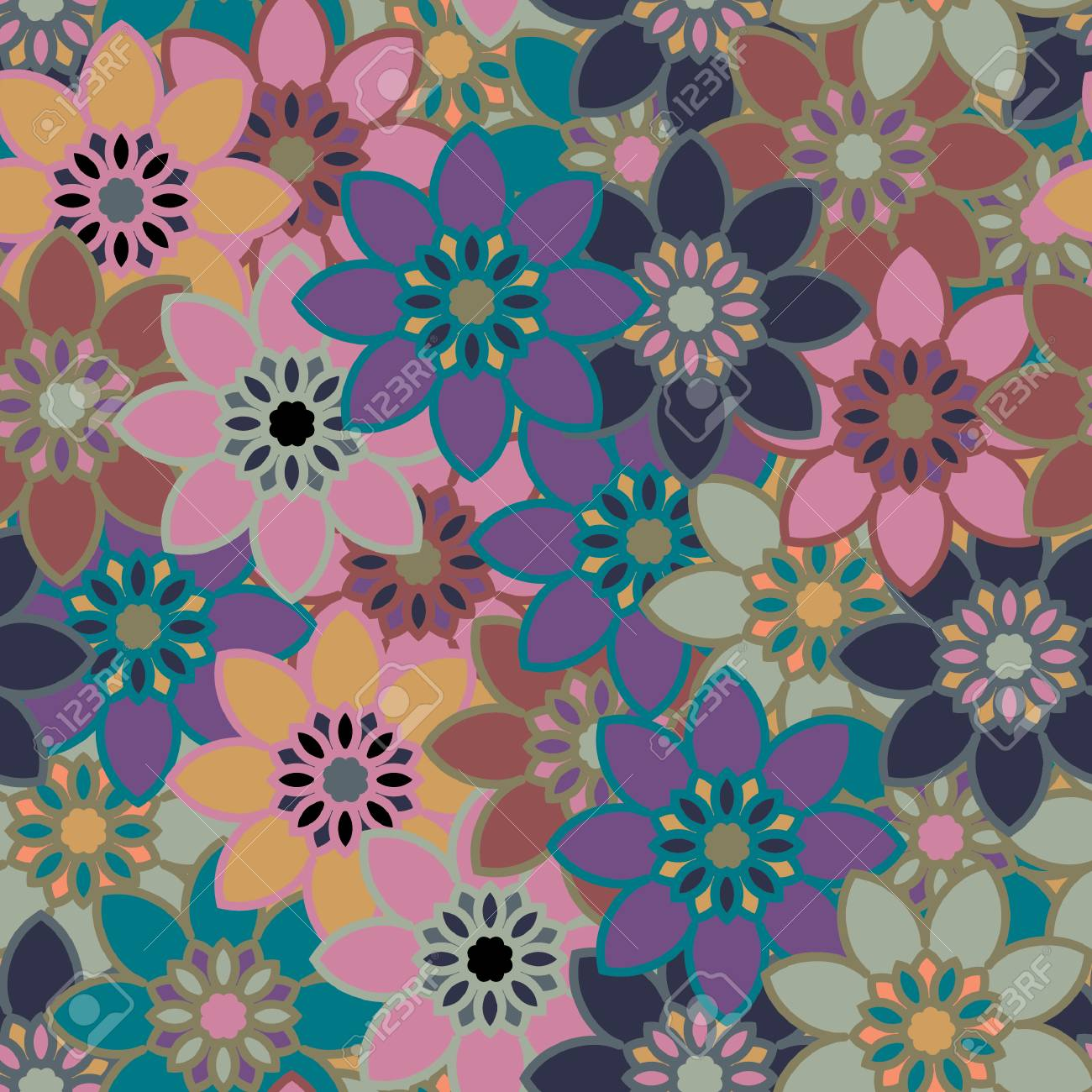 Seamless Floral Pattern Classic Wallpaper Seamless Vintage Flower